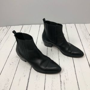 J. Crew Black Leather Ankle Booties Sizes 6.5 M